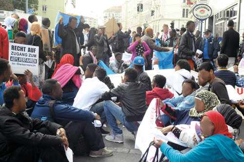Protest of Somali refugees in Austria