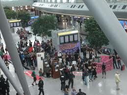 Report on Nobordercamp Cologne: Charter-deportation-airport Dusseldorf transformed into a protest-zone...