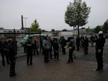Bustour of protestmarch in Bielefeld - One of these got arrested by the police and let free after a short time